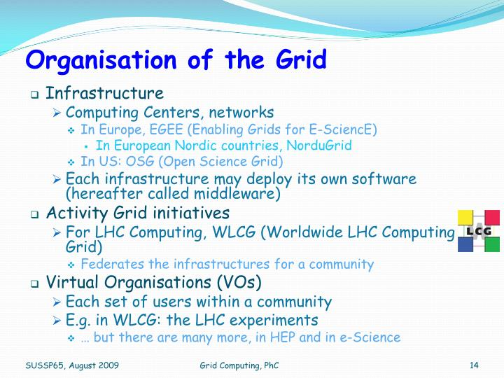 Organisation of the Grid