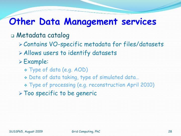 Other Data Management services