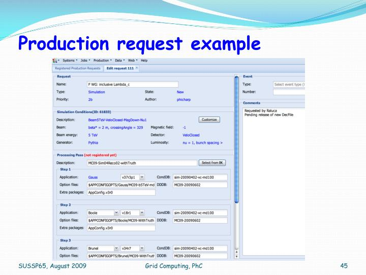 Production request example