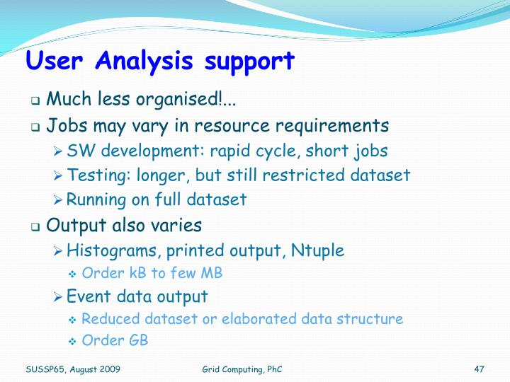 User Analysis support