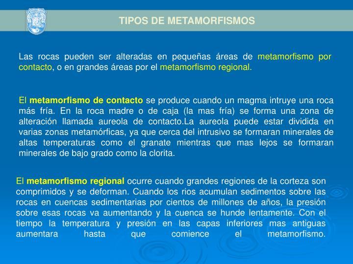 TIPOS DE METAMORFISMOS