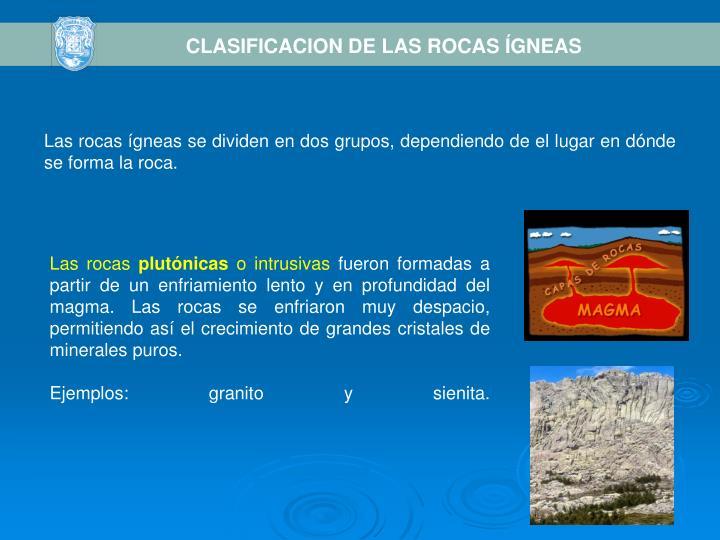 CLASIFICACION DE LAS ROCAS ÍGNEAS