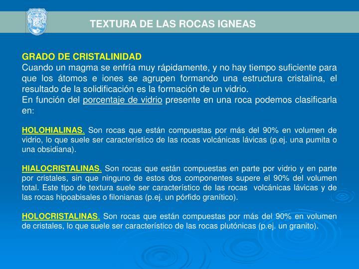 TEXTURA DE LAS ROCAS IGNEAS