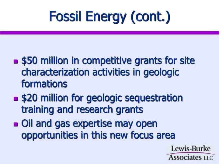 Fossil Energy (cont.)