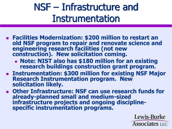 NSF – Infrastructure and Instrumentation