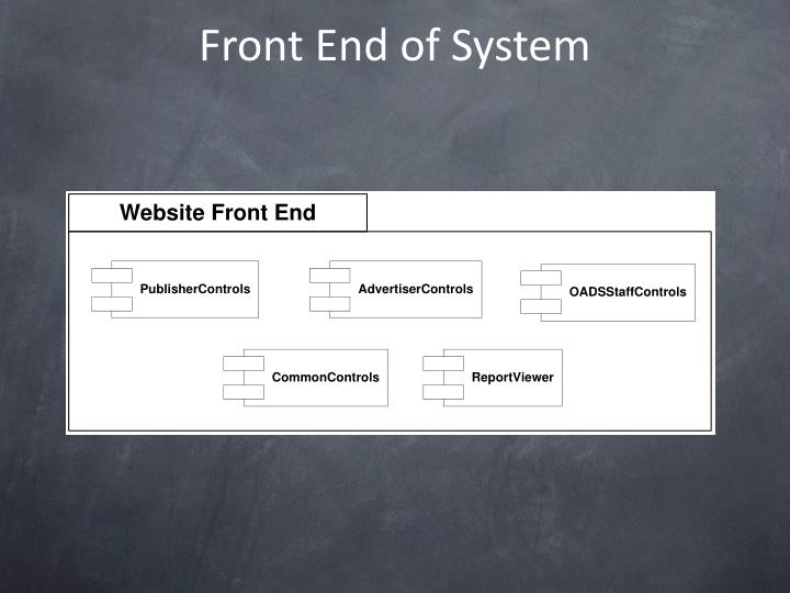 Front End of System