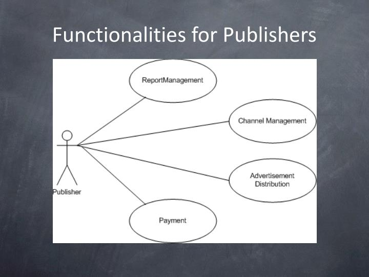 Functionalities for Publishers