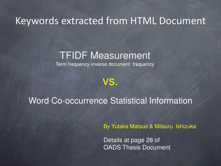 Keywords extracted from HTML Document