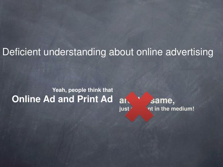 Deficient understanding about online advertising