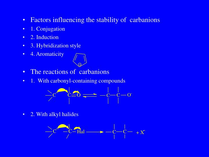 Factors influencing the stability of  carbanions
