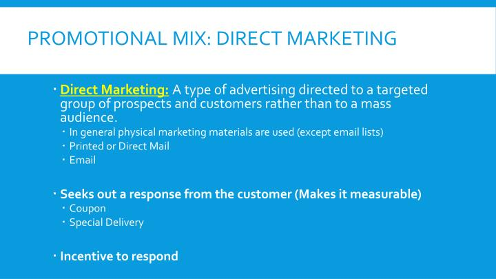 Promotional Mix: Direct Marketing