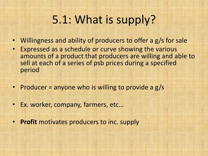5.1: What is supply?