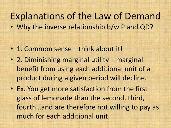 Explanations of the Law of Demand