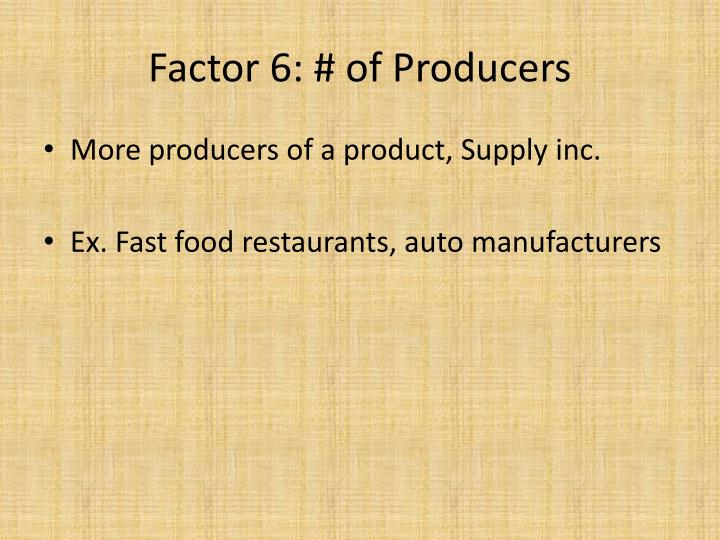 Factor 6: # of Producers