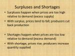 surpluses and shortages