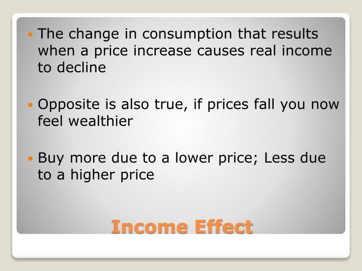 The change in consumption that results when a price increase causes real income to decline