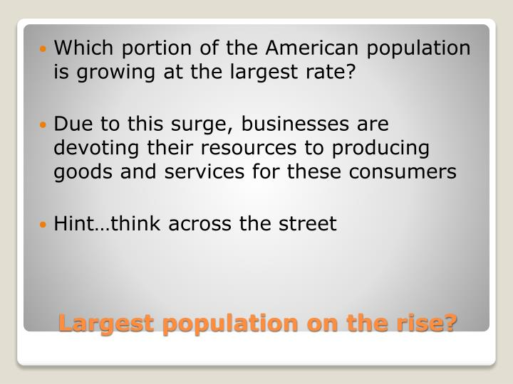 Which portion of the American population is growing at the largest rate?