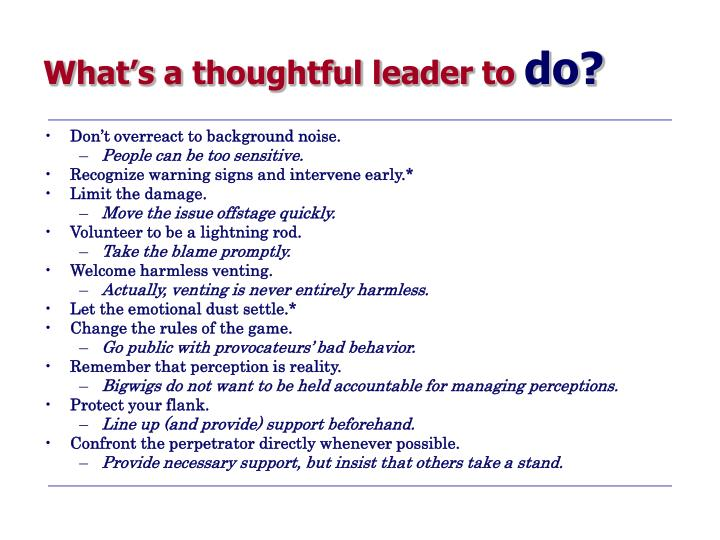 What's a thoughtful leader to