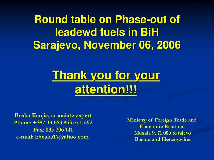 Round table on Phase-out of leadewd fuels in BiH