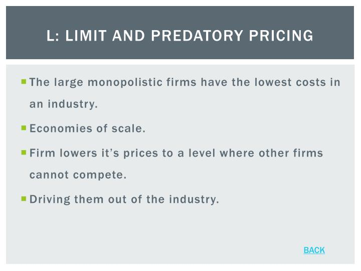 L: Limit and Predatory Pricing