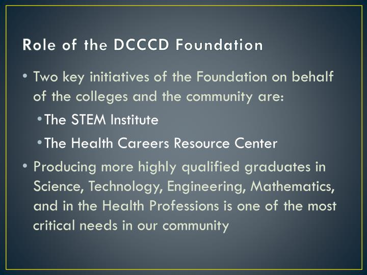 Role of the DCCCD Foundation