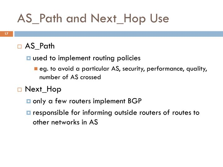 AS_Path and Next_Hop Use