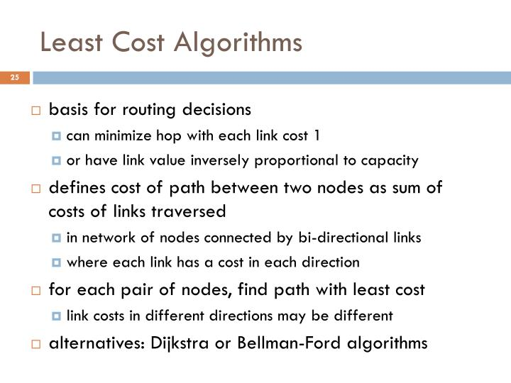 Least Cost Algorithms