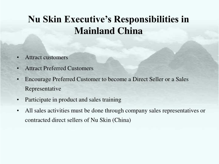 Nu Skin Executive's Responsibilities in Mainland China