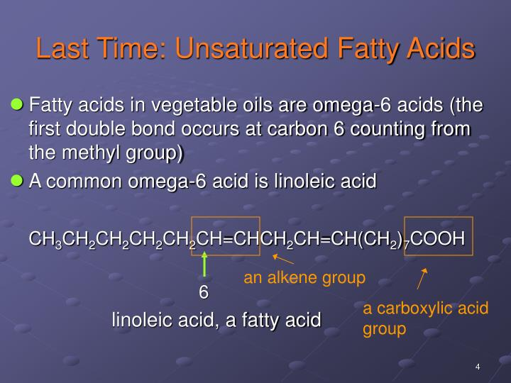 Last Time: Unsaturated Fatty Acids