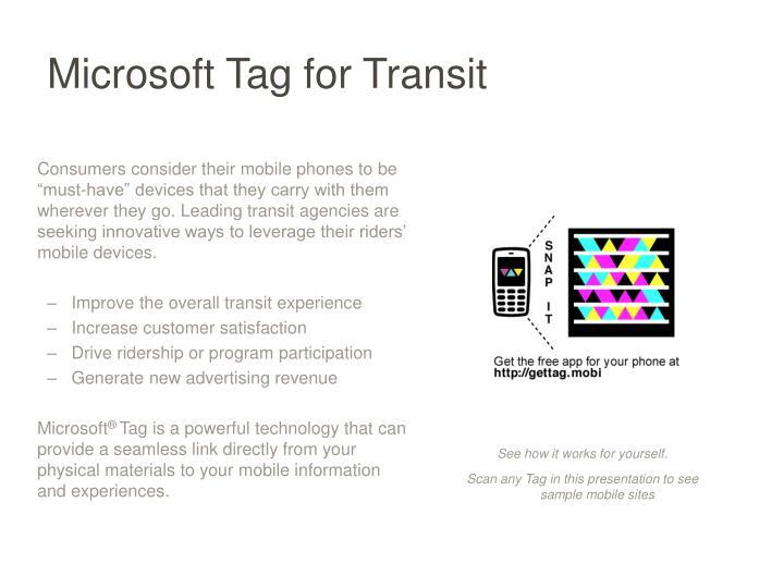 Microsoft Tag for Transit