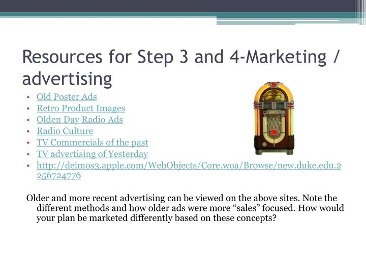 Resources for Step 3 and 4-Marketing / advertising