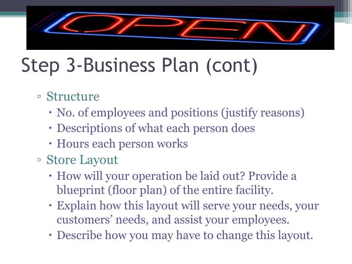 Step 3-Business Plan (cont)