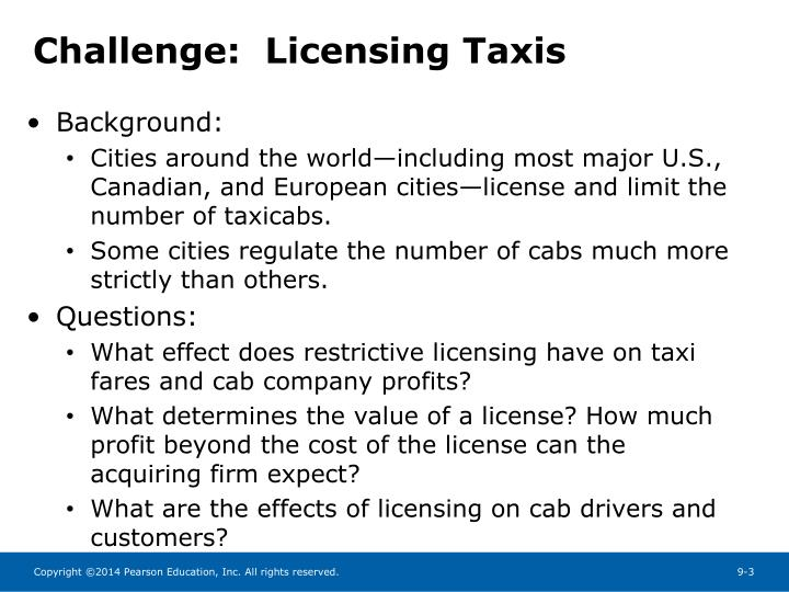 Challenge licensing taxis
