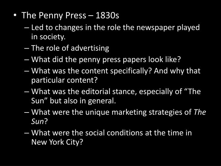 The Penny Press – 1830s