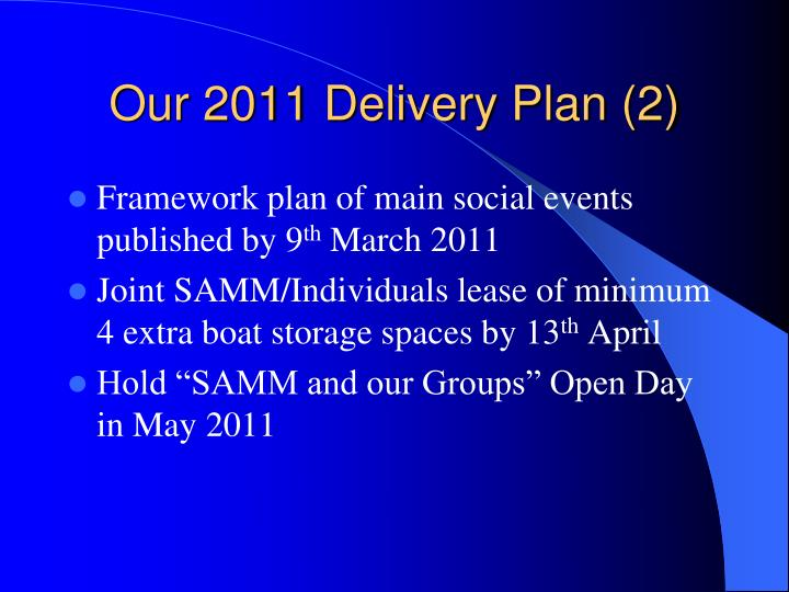 Our 2011 Delivery Plan (2)