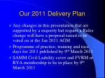 our 2011 delivery plan