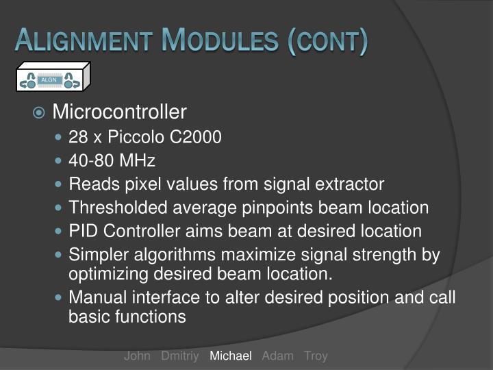 Alignment Modules (cont)