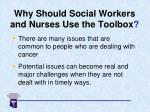 why should social workers and nurses use the toolbox