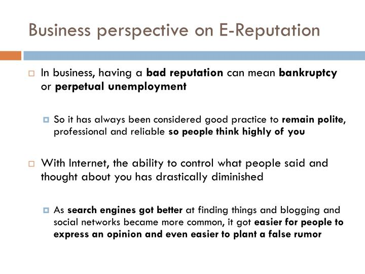 Business perspective on E-Reputation