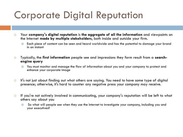 Corporate Digital Reputation