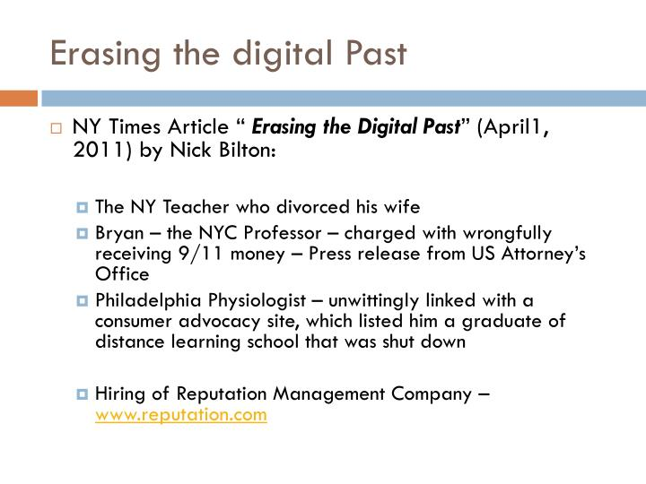 Erasing the digital Past