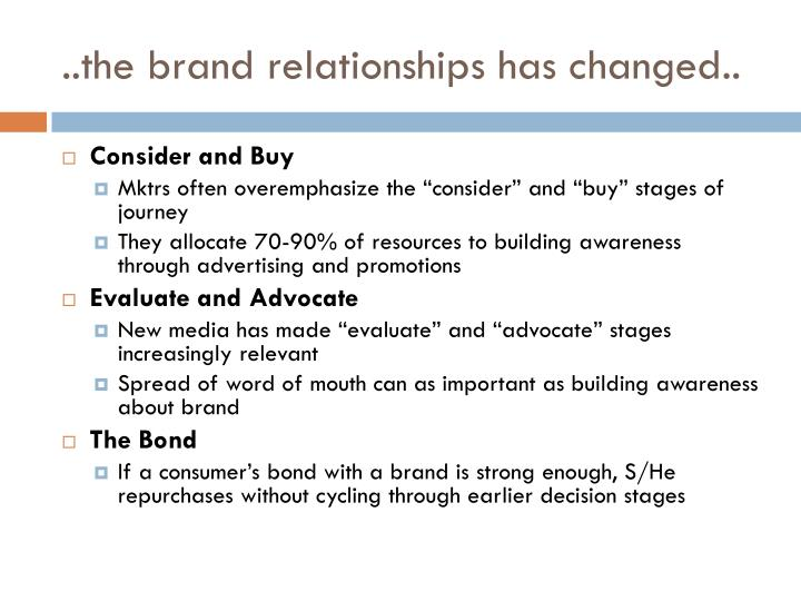 ..the brand relationships has changed..