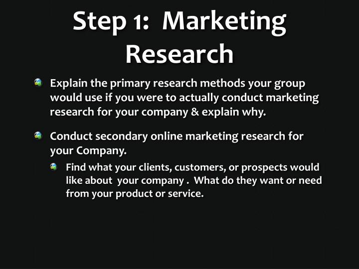 Step 1:  Marketing Research