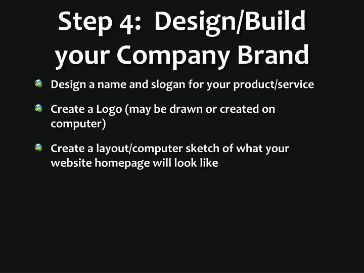 Step 4:  Design/Build your Company Brand