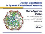 on node classification in dynamic content based networks