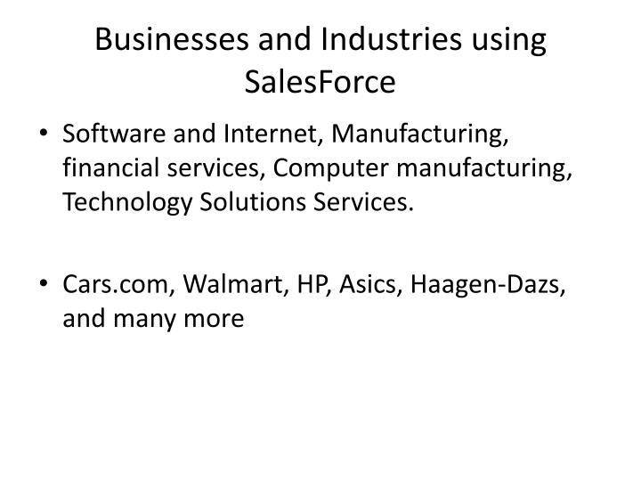 Businesses and Industries using