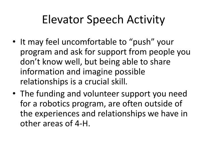 Elevator Speech Activity