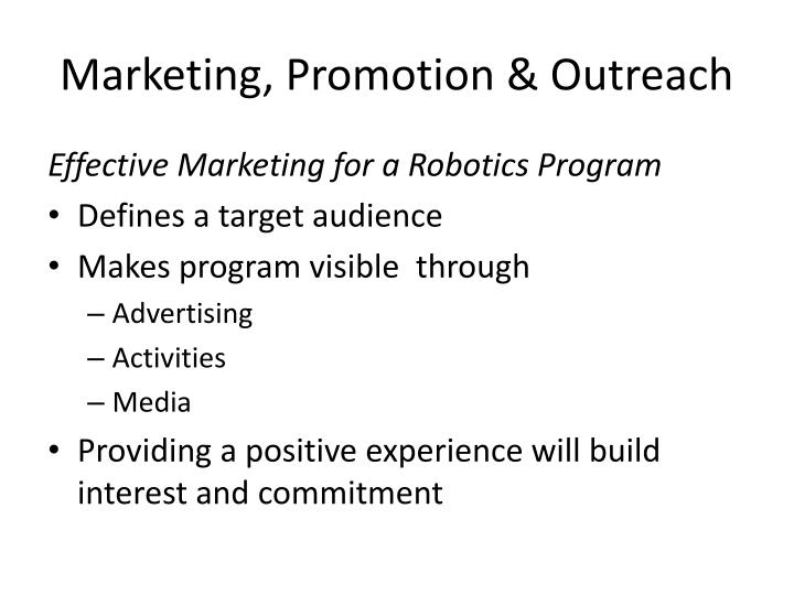 Marketing, Promotion & Outreach