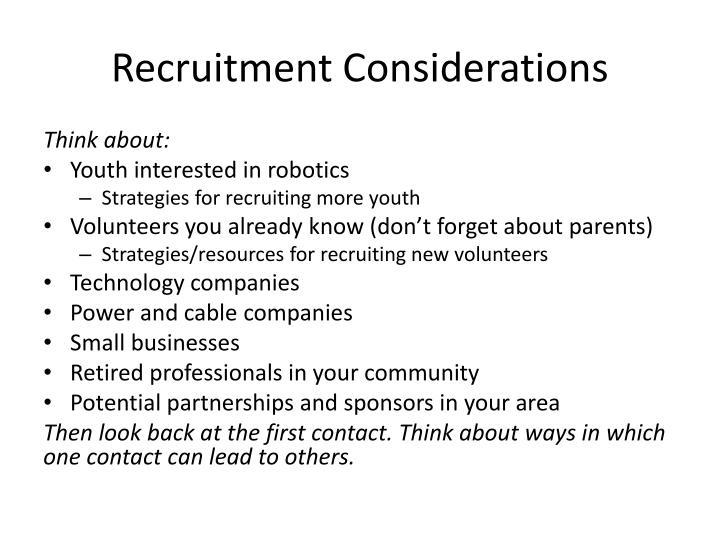 Recruitment Considerations