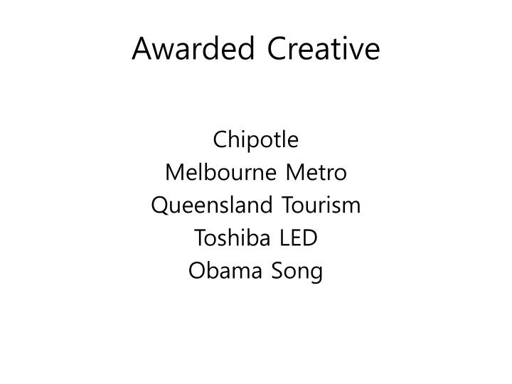 Awarded Creative